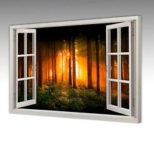 MORNING SUN RAYS THROUGH FOREST TREES WINDOW VIEW CANVAS WALL ART PICTURE PRINT