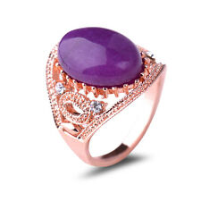 Women's Wedding Engagement Rose Gold Plated Amethyst China Jade Finger Ring GZ01