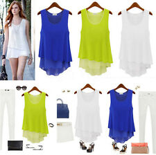 Women Summer Loose Casual Chiffon Sleeveless Vest Shirt Tops Blouse Ladies Top W