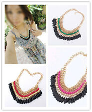 Fashion Jewelry Crystal Chunky Statement Bib Pendant Chain Choker Necklace New