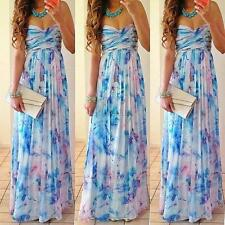 Sexy Lady Strapless Floral Bandeau Pleated Party Dress Beach Maxi Sundress S-XXL