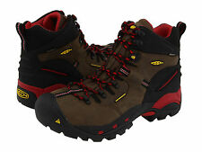 Keen Utility Mens PITTSBURGH Bison/Red Leather Steel Toe Work Boots 1007024