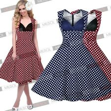Womens Pinup 50's Vintage Skirt Retro Cocktail Party Prom Summer Swing Dresses