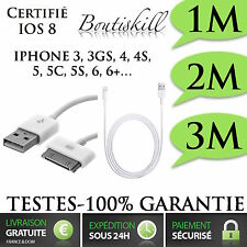 CABLE 1M-2M-3METRE USB CHARGEUR RECHARGE SYNC iPhone 3,4,4S,5,5C,5S,6,6Plus,Ipod