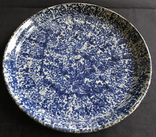 Blue and White Spatterware Pottery Plate Excellent