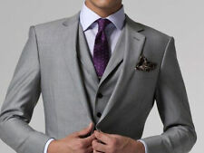 New Light Grey Two Button Notch Lapel Groom Tuxedos Bridegroom Best Man Suit
