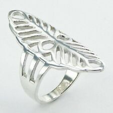 Silver ring 925 sterling openwork leaf marquise design 40mm sizes 6us - 9us  PSA