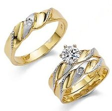 His & Her 14kt Yellow Gold Trio White Sapphire CZ Wedding Ring Set