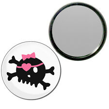 White Skull with Bow - Round Compact Glass Mirror 55mm/77mm BadgeBeast