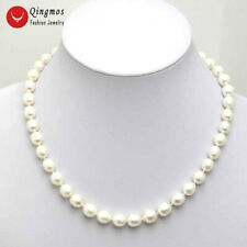 "SALE 5-6mm Rice White Natural Freshwater PEARL 17"" NECKLACE-nec5024"
