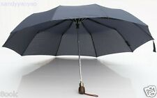 AUTO OPEN Gentle Wood Handle Windproof Umbrella Parasol 10 Ribs 3 Sections NEW