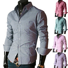 6Colors Mens Casual Plaids Check Slim Fit Stylish Dress Shirts Tee Tops S M L XL