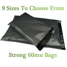 Strong 60mu Grey Plastic Poly Mailing Bags/Sacks Self Seal All Sizes Available