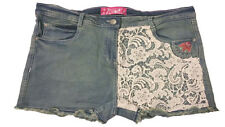 New women's ladies denim shorts with floral embroidery and lace size 12 - 32