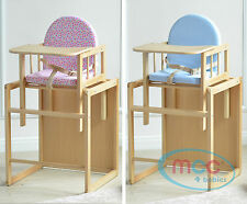MCC Brand New 3 In 1 Baby Wooden High Chair With Play Table Cushion & Harness