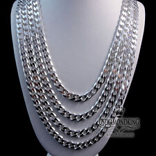 """MEN'S LADIES NEW 925 STERLING SILVER MIAMI CUBAN CURB NECKLACE CHAIN 20""""~30"""" 5MM"""