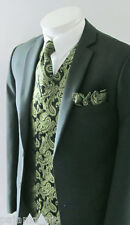 20W Olive Green Paisley Tuxedo Dress Vest Waistcoat & Neck tie & And Hankie Set