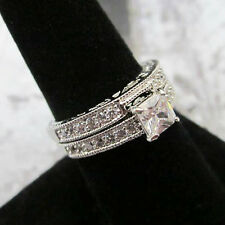 Modern Solitaire Square Cut 2 Set Silver Platinum Plated Wedding Band 5, 6, 7