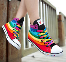 Hot Girl Stylish Multi Color Womens Rainbow High Top Sneaker Boot Shoe Plimsoll