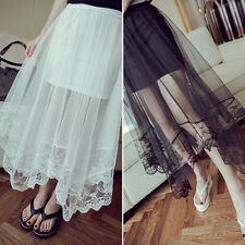 New Women Sheer Mesh Tulle Lace Floral Gothic Long Maxi Skirt Pleated Dress  E60