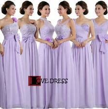 STOCK New Lilac Chiffon Bridesmaid Formal Evening Prom Ball Party Dress Size6-22
