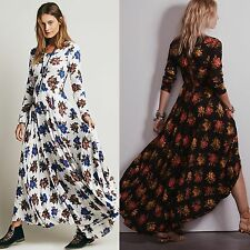 New Women Long Sleeve Vintage Floral Cocktail Evening Party Ball Gown Maxi Dress