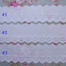 """Vintage Style Embroidered Cotton Eyelet Lace Trim 2.8""""(7cm)Wide 5Yd White"""