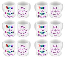 Happy 18th-100th Birthday With Personalised Message Novelty Gift Mug