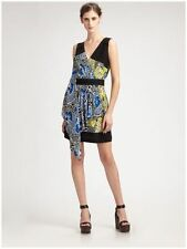 NWT-289-BCBG MAX AZRIA DRESS SILK BLUE YELLOW BLACK XXS XS S M L (00 0 4 6 8 10