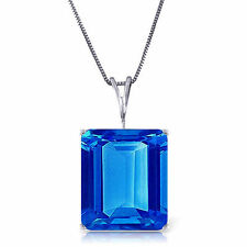 Emerald Cut  Blue Topaz 7 ct Gemstone Solitaire Pendant Necklace 14K. Solid Gold