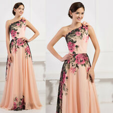 Floor Length Floral Bridesmaid Prom Dresses Long Formal Evening Wedding Pageant