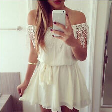 Women's Sexy Celeb Lace Playsuit Party Cocktail Evening Summer Short Mini Dress