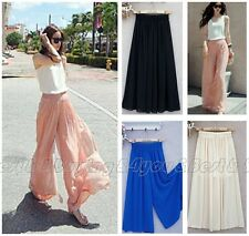 Women Casual High Waist Career Wide Leg Trousers Summer Palazzo Loose Pants
