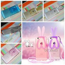 Stand 3D Rabbit Ears Soft Silicone Case Skin Cover + Strap For iPhone 5 6 Clear
