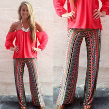 Womens Floral Print Wide Leg Palazzo Trousers Loose Long Boho Summer Beach Pants