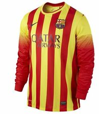 Nike FC Barcelona Season 2013-2014 Long Sleeve Away Soccer Jersey Brand New