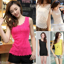 Fashion Women Summer Vest Top Sleeveless Lace Blouse Casual Tank Tops T-Shirt