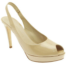 K&S Ladies Designer Nude Patent Sling Back Open Peep Toe High Heel Platform Shoe