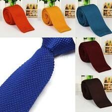 Hot Men's Solid Color Plain Necktie Narrow Slim Skinny Knit Knitted Woven Ties