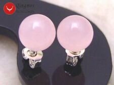 SALE Small 8mm Pink Perfect Round High Quality Jade stud s925 earring-ear133