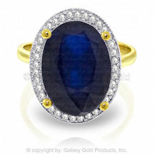 Genuine Blue Sapphire Gemstone & Diamonds Ring in 14K Yellow, White or Rose Gold