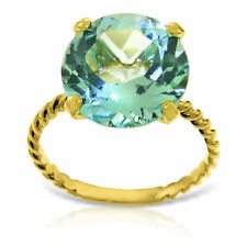 Genuine 12.0 mm Blue Topaz Round Cut Gemstone Ring 14K. Yellow, White, Rose Gold