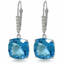 Genuine Blue Topaz Cushion Cut  Gems & Diamonds Dangle Earrings 14K. Solid  Gold