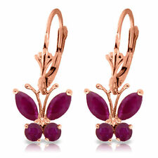 Genuine Red Ruby Gemstones Butterfly Dangle Leverback Earrings in 14K Solid Gold