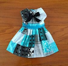 Small-Teal & Black Patches Dress -Dog dress Clothes Pet apparel puppy