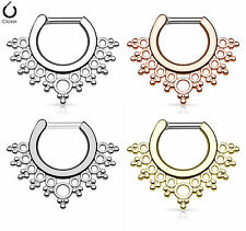 1pc Lacey Edge Design Septum Clicker 316L Surgical Steel 14g or 16g Nose Ring