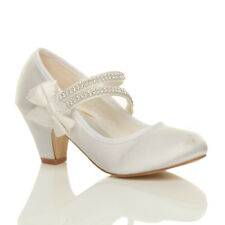 GIRLS KIDS CHILDRENS LOW HEEL STRAP BRIDESMAID PARTY FORMAL EVENING SHOES SIZE
