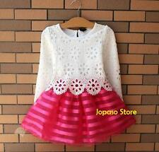 Girls Kids Clothes Pink White Flower Tutu Dress Party Wedding Size 2 to 6