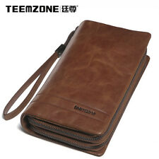 Men real leather zipper clutch wallet long wallet ID phone wallet handbag