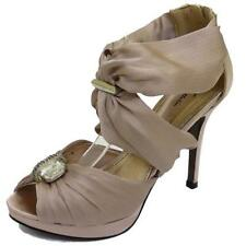 LADIES NUDE PLATFORM STRAPPY SANDALS PEEP-TOE EVENING WEDDING SHOES SIZE 3-8